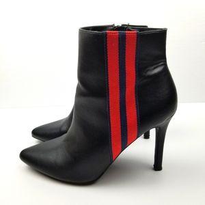 Red Stripe Black Ankle Heel Boots